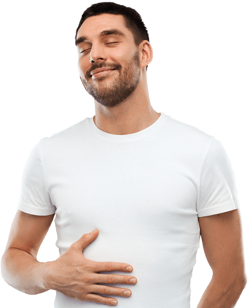 A young man with closed eyes touches his tummy with one hand plesurably.