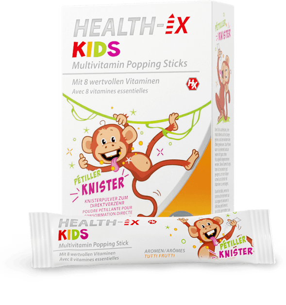 Product packaging of the Health-iX Multivitamin Popping Sticks Kids